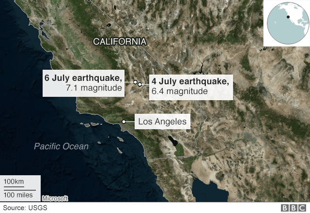Map of 4 and 6 July California earthquakes