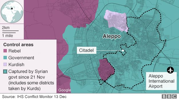 Control areas in Aleppo on 13 Dec