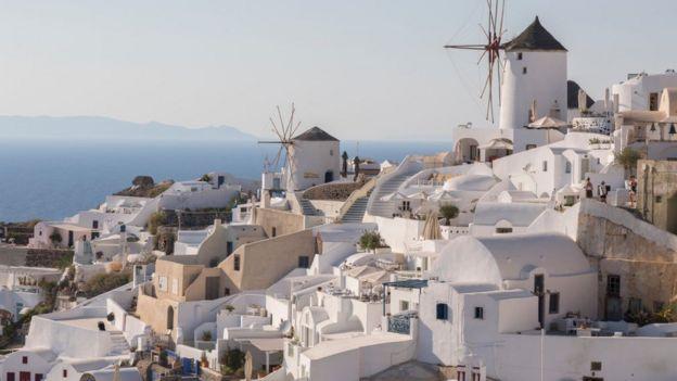 Oia village in Santorini, Greece, in July 2018
