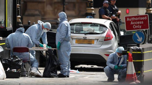 Westminster car crash: Man arrested on suspicion of terror