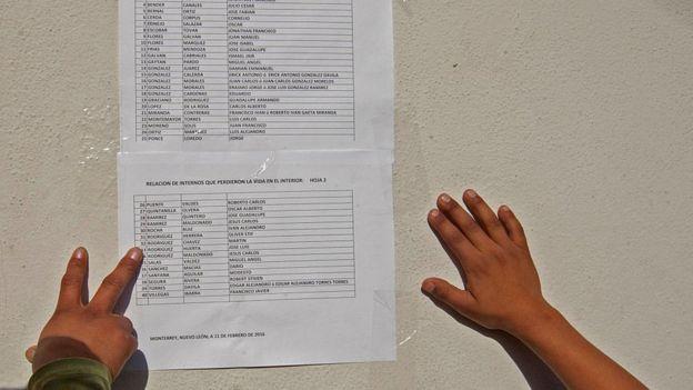 Listado de personas fallecidas dentro de una prisión.