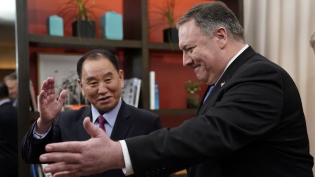 U.S. Secretary of State Pompeo meets senior North Korean envoy Kim Yong Chol in Washington