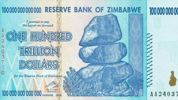 ورقة بنكنوت بقيمة 100 تريليون دولار زيمبابوي