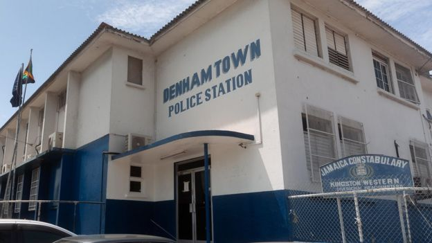 A view of the outside of Denham Town police station