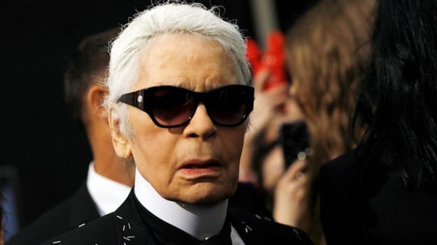Designer Karl Lagerfeld at Milan Fashion Week in 2017