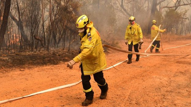 Firefighters try to contain a fire north-west of Sydney on 17 December 2019.