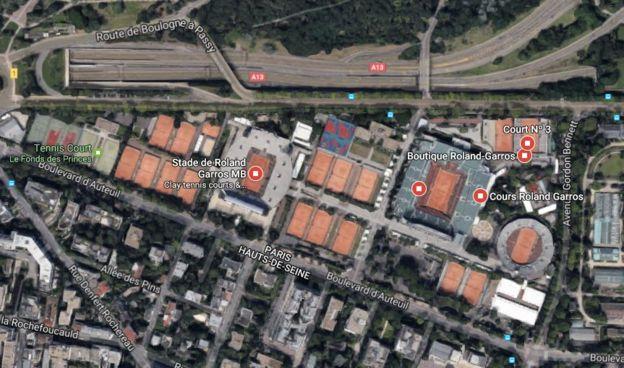 Vista aérea del complejo Roland Garros