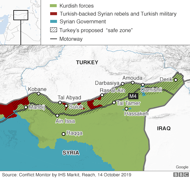 Map showing control of north-east Syria on 14 October 2019