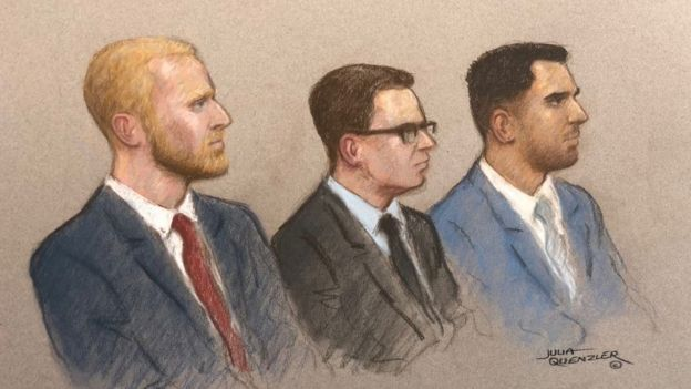 Court sketch of Ben Stokes, Ryan Hale and Ryan Ali