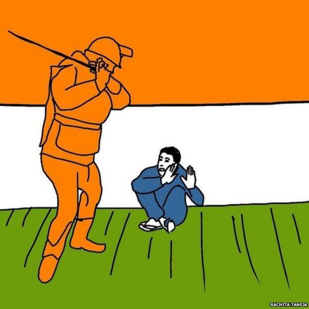 पुलिस की कार्रवाई दिखाता एक चित्र