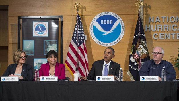 President Barack Obama speaks to the press after receiving the yearly hurricane season outlook and preparedness briefing at the National Hurricane Center in Miami on 28 May 2015