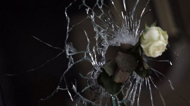 Rose through a bullet hole in a restaurant near La Belle Equipe on 15 November 2015