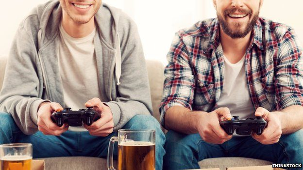 men playing video games