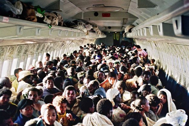 Ethiopian Jews on board a Boeing 707