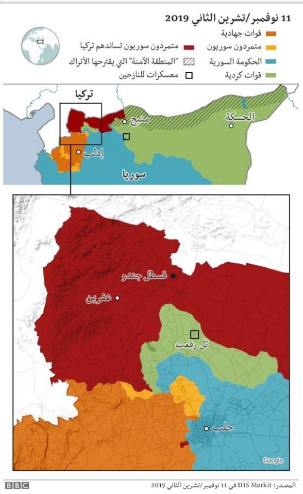 خريطة لمناطق السيطرة في عفرين والمنطقة الآمنة المزعومة