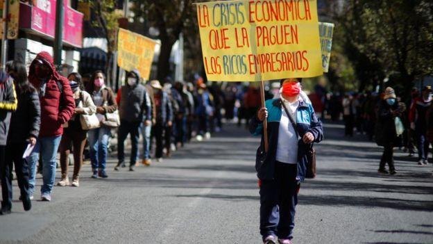 Protesta por la crisis económica del coronavirus en Bolivia,
