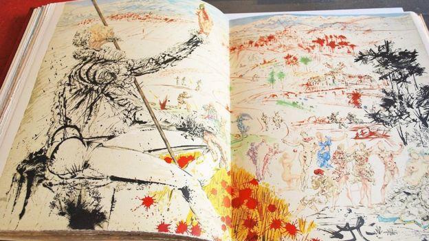 Litografía de Salvador Dalí, que boceta a El Quijote.