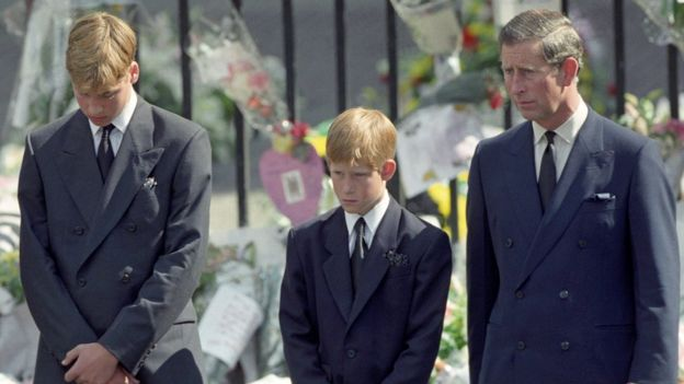 William, Harry and Charles at Princess Diana's funeral