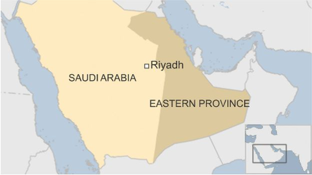 A map showing Saudi Arabia's Eastern Province