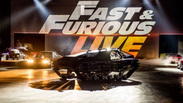 A Ripsaw EV2 Luxury Super Tank used in The Fate of the Furious (2017) seen in the arena during the 'Fast & Furious Live' technical rehearsal at NEC Arena on December 18, 2017 in Birmingham, England.