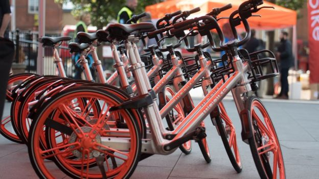 Mobikes in a row