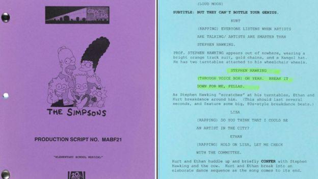 Çizgi dizi Simpsonlar'ın, Hawking'den bahsettiği bölümünün senaryosu