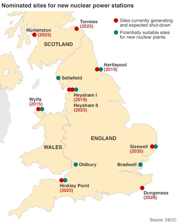 Why Does The Uk Need China To Build Its Nuclear Plants Bbc News: Uk Nuclear Plants Map At Infoasik.co