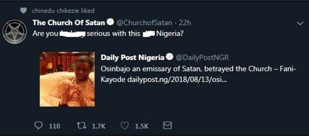 Church of Satan: Femi Fani-Kayode dey make dem swear for Nigeria