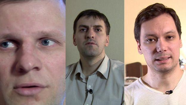 Tres de los siete Testigos de Jehová que denuncian torturas en Surgut, Rusia.