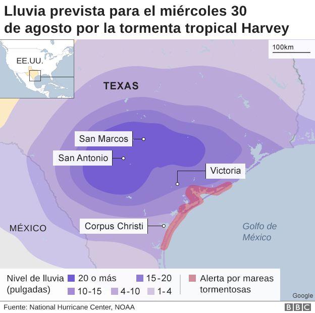 Lluvia prevista el miércoles 30 de agosto por la tormenta Havey en EE.UU.