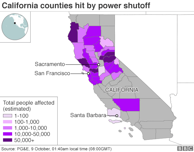 Image result for Parts of California Will Be Without Power for Nearly a Week