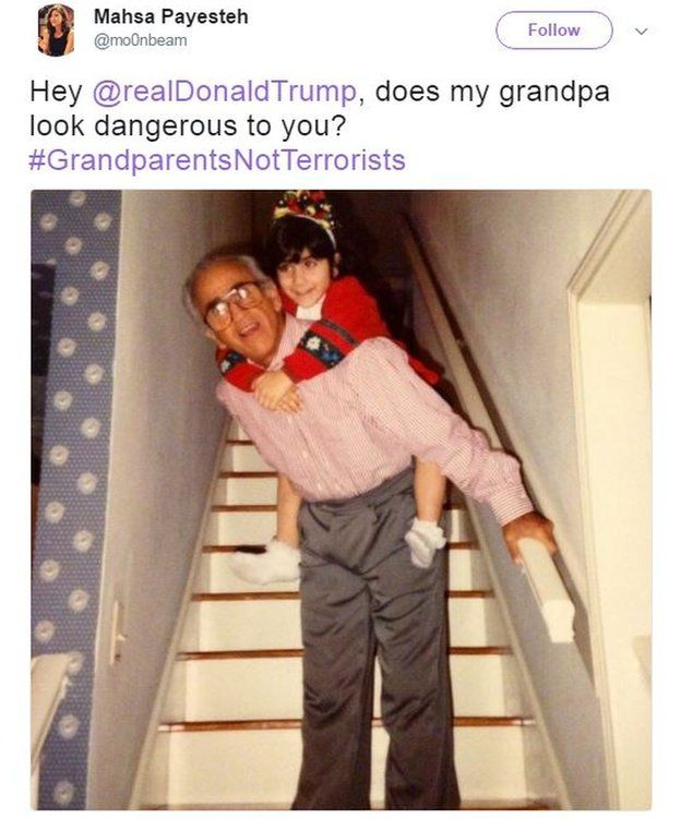 """Mahsa Payesteh tweets a photo of her as a child on her grandfather's back with the caption: """"Hey @realDonaldTrump, does my grandpa look dangerous to you? #GrandparentsNotTerrorists""""."""