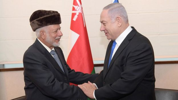 Oman's Minister of State for Foreign Affairs, Yusuf bin Alawi bin Abdullah (L), shakes hands with Israeli Prime Minister Benjamin Netanyahu (R) prior to a meeting in Warsaw, Poland on 13 February 2019