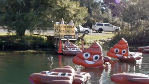 Campaigners launch inflatables into Lake Ohakuri