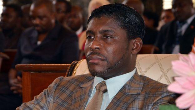 Teodorín Obiang, en la catedral de Malabo, en 2013.