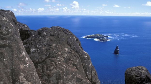 Vista del mar desde Orongo, Isla de Pascua.