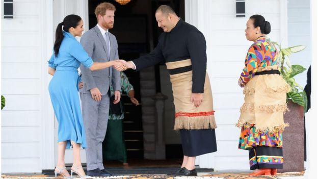 Prince Harry and Meghan with King Tupou VI and Queen Nanasipau'u of Tonga