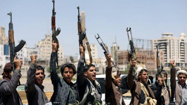 Des partisans houthis participent à un rassemblement à Sanaa, au Yémen (21 septembre 2019)
