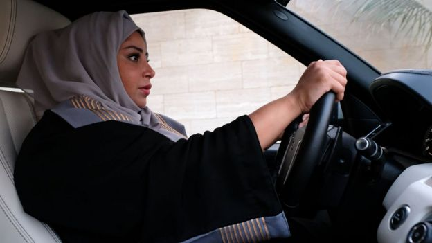 A woman drives in Jeddah