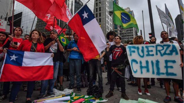 Manifestación de apoyo a Chile en Brasil