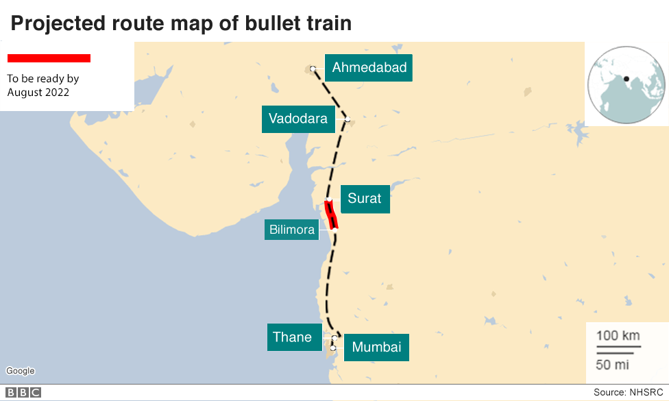 Map of bullet train route