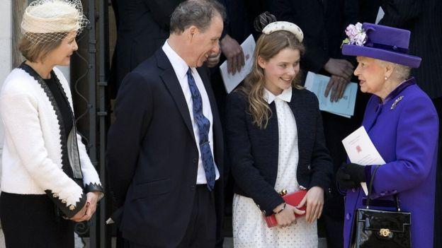 Граф и графиня Сноудон с дочерью Маргаритой и королевой Елизаветой Второй в 2017 году