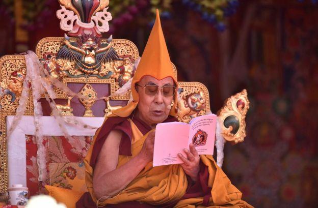 The Dalai Lama during his visit to Tawang near the India-China border in Arunachal Pradesh on April 10, 2017