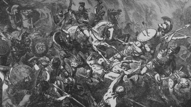 Engraving depicting the destruction of the Athenian army in Sicily, during the Peloponnesian War