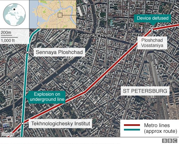 Map showing St Petersburg bombs - 4 April 2017