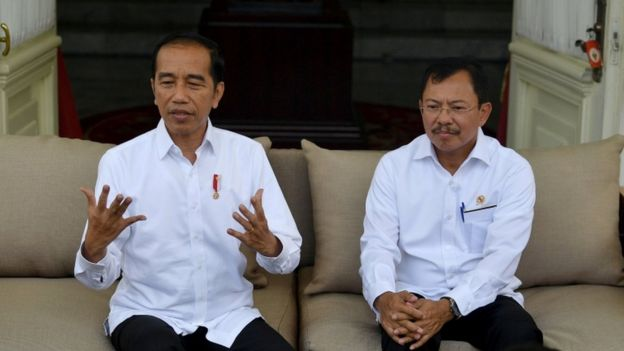 President Widodo announces Indonesia's first coronavirus cases at a news conference at the presidential palace in Jakarta, Indonesia