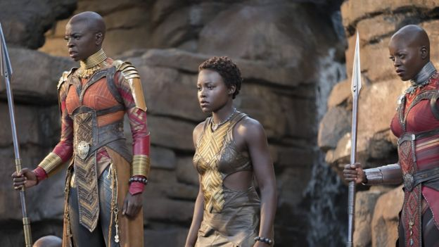 Danai Gurira (left) and Lupita Nyong'o (centre) in Black Panther