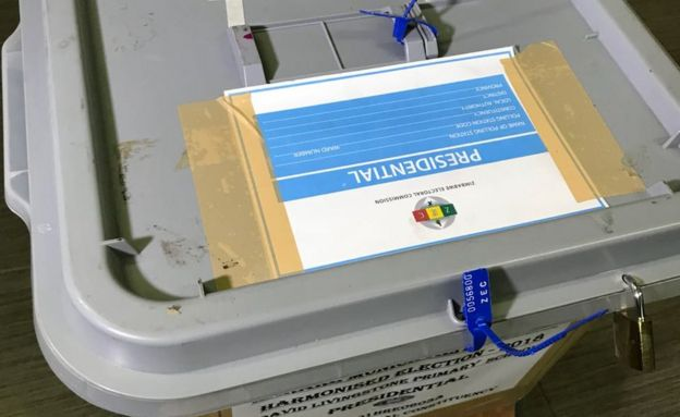 A sealed ballot box at David Livingstone Primary School in Harare, Zimbabwe