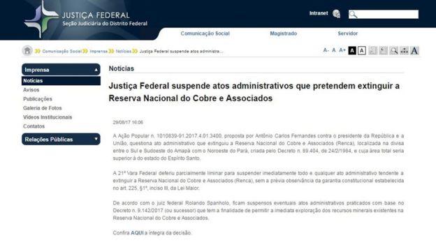 Site da Justiça Federal