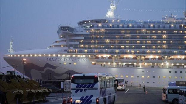 The Diamond Princess cruise ship - quarantined in Japan due to coronavirus, 16 February 2020